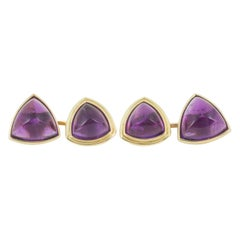 Cufflinks with Triangular Mounted Amethysts in 18 Karat Gold, French circa 1920