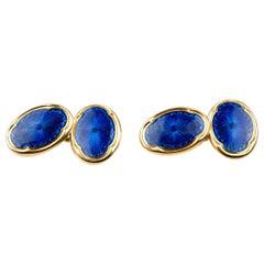 Cufflinks Antique Blue Enamel on 18 Carat Gold Maker Deakin and Francis, 1909