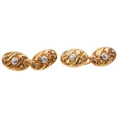 Carved Scrolled Cufflinks 18 Karat Gold & Central Diamond, French circa 1890