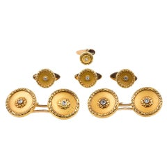 Cufflinks Antique Gold and Diamond with Four Matching Studs English, circa 1890