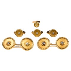 Dress Set: Cufflinks & Matching Studs in 18kt Gold & Diamonds, French circa 1890