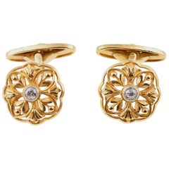 Cufflinks Antique Pair of 18 Karat Gold Floral With Single Diamond, French, 1890
