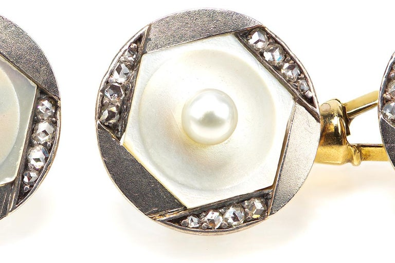 Cufflinks Antique Pearl Mother of Pearl Diamond Austrian 14 Karat Gold, 1900 For Sale 1