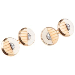 Art Deco Cufflinks in Two Colour 18 Karat Gold with Diamonds, French circa 1930