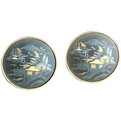 Cufflinks Black Lacquer Gold Silver