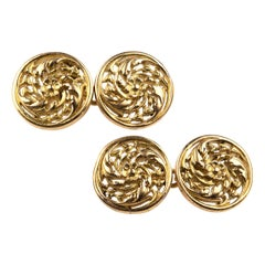 Cufflinks by Wiese in 18 Karat Gold with Floral Scrolls, French, circa 1875