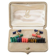 Vintage Van Cleef & Arpels Coloured Stone Baton Cufflink Set , French circa 1950