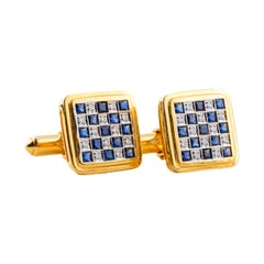 Cufflinks Diamond Safire in 18 Karat Gold