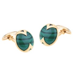 Cufflinks For Men Yellow Gold with Round Malachite Button