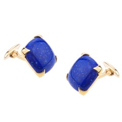 Cufflinks For Men Yellow Gold with Squared Lapislazzuli Cushion Cab