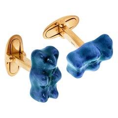 Cufflinks Gummy Bear Blue Color Unisex Gift 18K Silver Gold-Plated Greek Jewelry