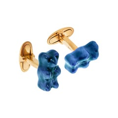 Cufflinks Gummy Bear Blue Color Unisex Gift  18K SilverGold-Plated Greek Jewelry