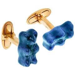 Cufflinks Gummy Bear Color Unisex Gift 18 Karat Silver Gold-Plated Greek Jewelry