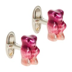Cufflinks Gummy Bear Ombre Plum Unisex Gift 18k Silver Gold-Plated Greek Jewelry