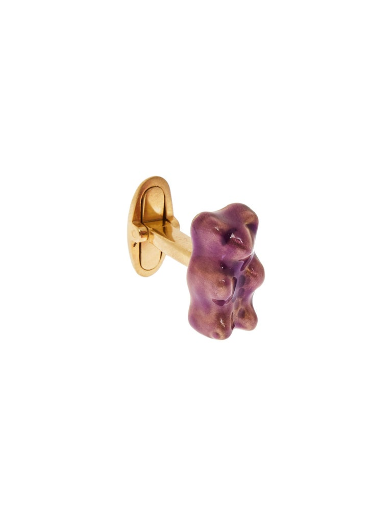 Gummy bear cufflinks - Grape  18K gold plated silver gummy bear cufflinks with transparent purple enamel coverage.   The Gummy Project by Maggoosh is a capsule collection inspired by the designer's life in New York City and her passion for