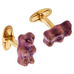 Cufflinks Gummy Bear Purple Unisex Gift  18k Gold-Plated Silver Greek Jewelry