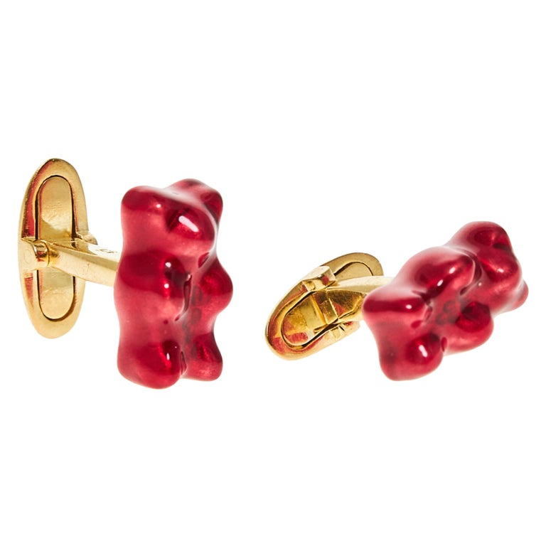 Cufflinks Gummy Bear Red Color Unisex Gift 18k Silver Gold-Plated Greek Jewelry For Sale