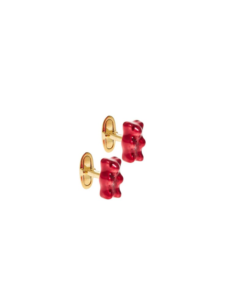 Gummy bear Cufflinks Watermelon   18K gold plated silver gummy bear cufflinks with transparent green yellow and pink   enamel coverage.   The Gummy Project by Maggoosh is a capsule collection inspired by the designer's life in New York City and her