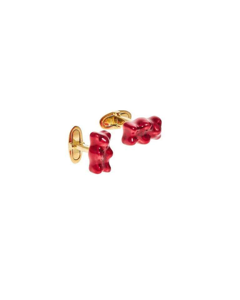Contemporary Cufflinks Gummy Bear Red Unisex Gift Silver 18 Karat Gold-Plated Greek Jewelry For Sale