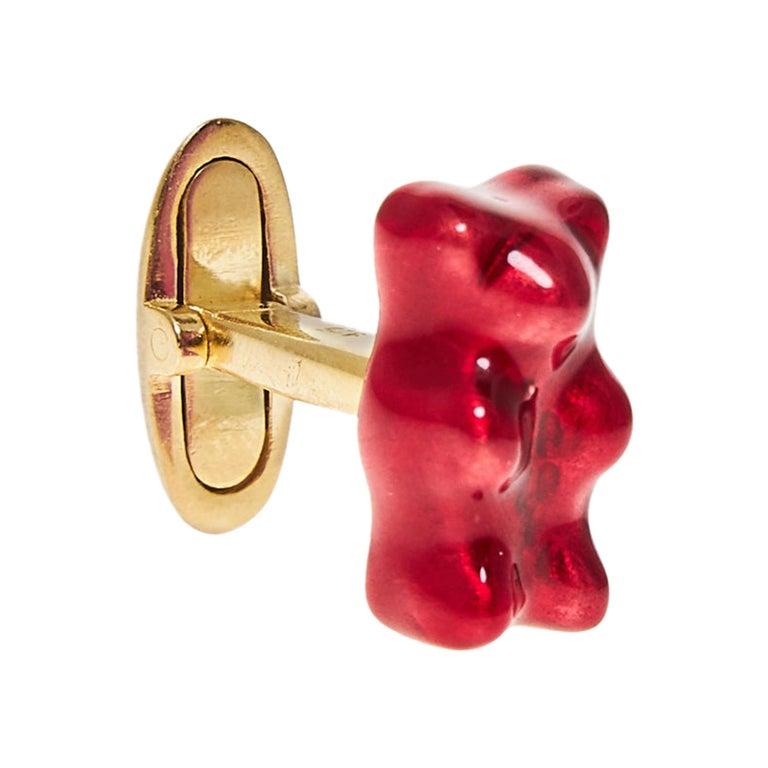 Cufflinks Gummy Bear Red Unisex Gift Silver 18 Karat Gold-Plated Greek Jewelry For Sale