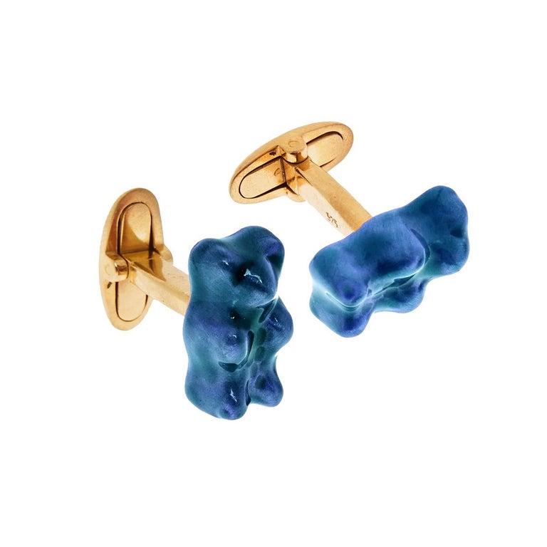Cufflinks Gummy Bear Red Unisex Gift Silver 18 Karat Gold-Plated Greek Jewelry For Sale 1