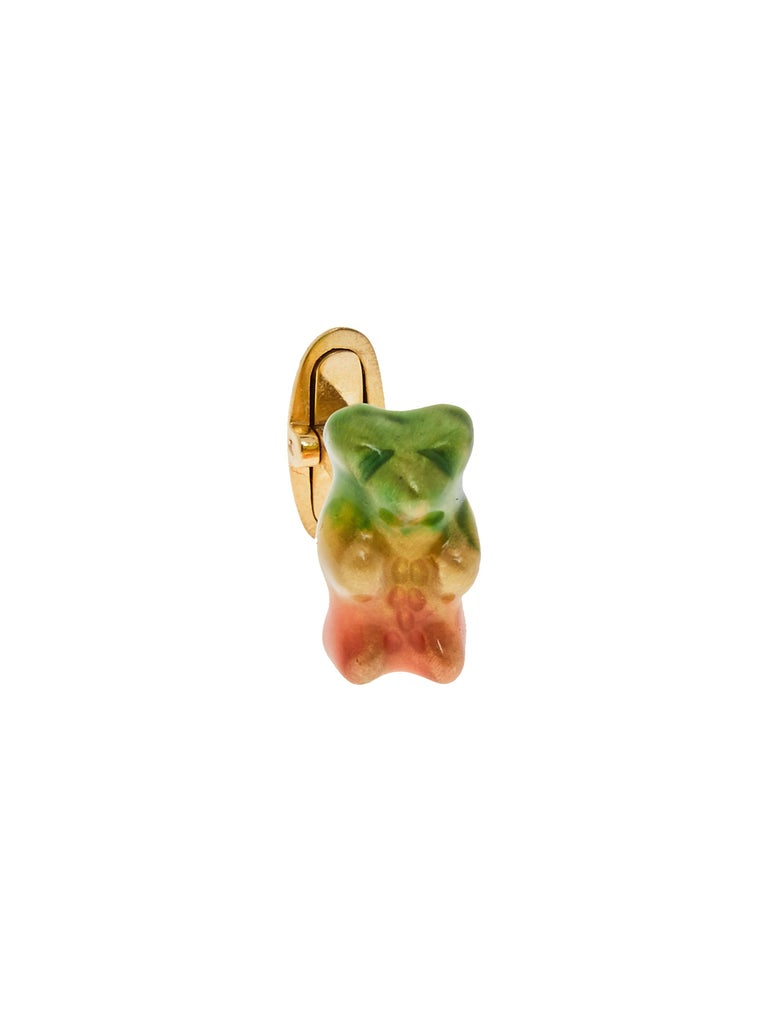 Cufflinks Gummy Bear Colours Unisex Gift 18k Gold-Plated silver Greek Jewelry In New Condition For Sale In Athens, GR