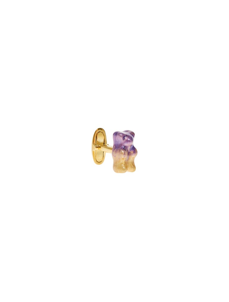 18K gold plated silver gummy bear cufflinks with transparent Red  enamel coverage.   The Gummy Project by Maggoosh is a capsule collection inspired by the designer's life in New York City and her passion for breakdancing and other street arts.