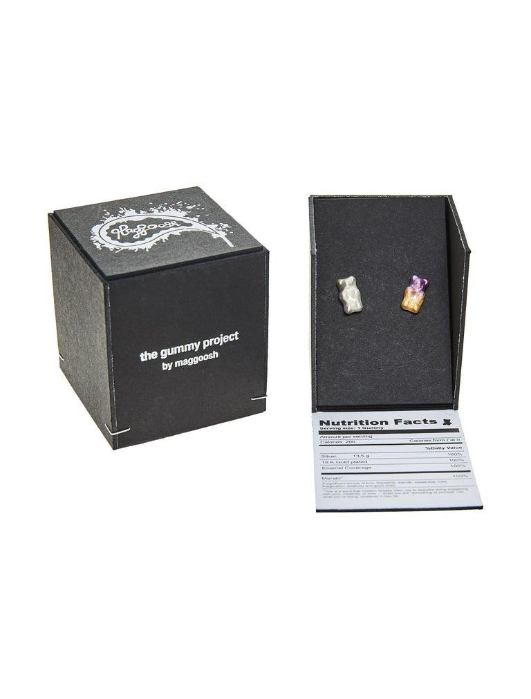 Cufflinks Gummy Bear Unisex Gift 18K Gold-Plated Silver Enamel Greek Jewelry For Sale 1