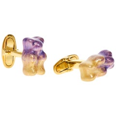 Cufflinks Gummy Bear Unisex Gift 18K Gold-Plated Silver Enamel Greek Jewelry