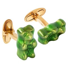 Cufflinks GummyBear Green Color Unisex Gift 18k Silver Gold-Plated Greek Jewelry