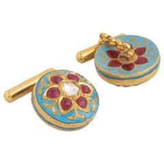 Cufflinks Handcrafted in 18 Karat Gold with Diamonds Rubies and Fine Enamel Work