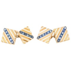 14 Karat Gold Cufflinks, Diagonal Ribbed Design with Sapphires, USA circa 1950