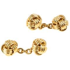 Cufflinks Heavy Double Sided 18 Karat Gold Woven Knots French, circa 1940