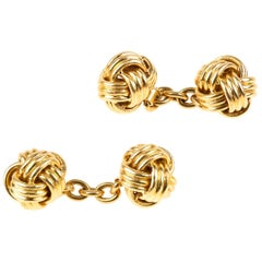 Vintage Cufflinks of Heavy 18 Karat Gold Woven Knots, French circa 1950