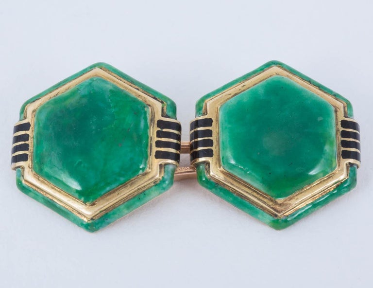 Pair of 18ct yellow gold hexagonal shaped Cufflinks with jade coloured enamel with black enamel shoulders.french c,1920