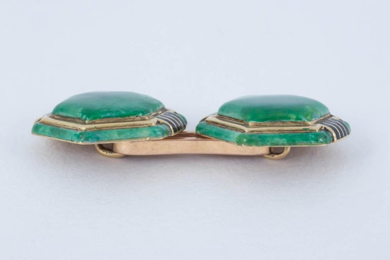 Cufflinks Hexagonal French Gold and Enamel, circa 1920 In Excellent Condition For Sale In London, GB