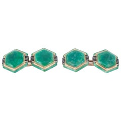 Art Deco Hexagonal Cufflinks in 18 Karat Gold & Jade Enamel, French circa 1925