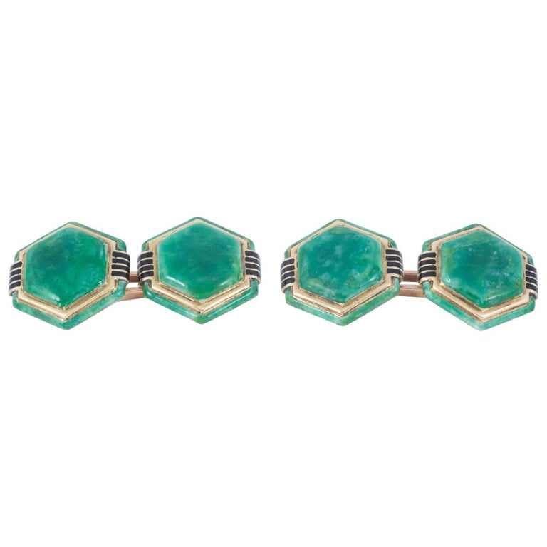 Cufflinks Hexagonal French Gold and Enamel, circa 1920 For Sale