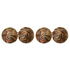 Cufflinks in 18 Carat Gold with Brown Enamel Tree Rings Design, English, 1989