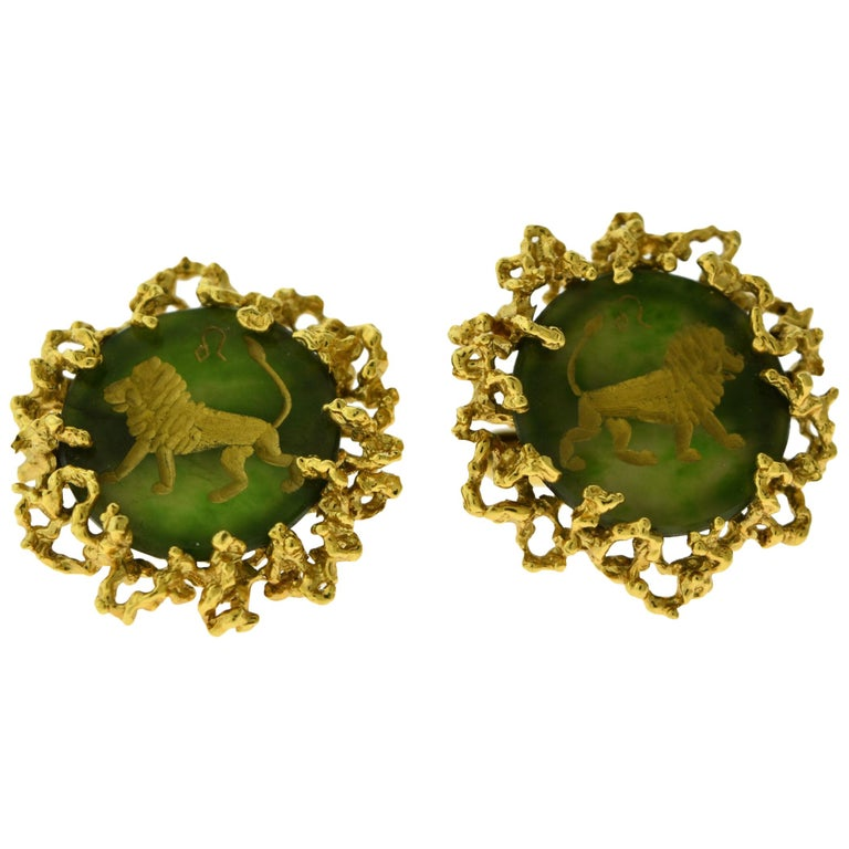 Cufflinks in 18 Karat Yellow Gold and Chrysoprase For Sale