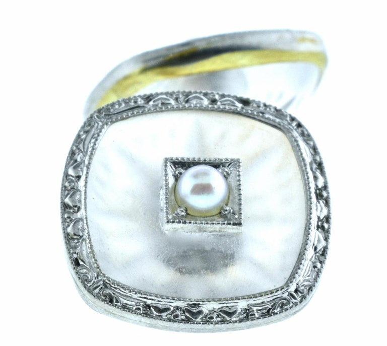 Cufflinks in Frosted and Etched Rock Crystal, Seed Pearl and Gold In Good Condition In Aspen, CO