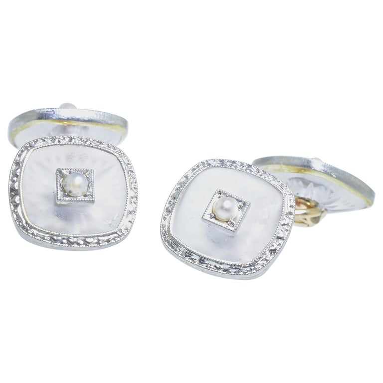 Cufflinks in Frosted and Etched Rock Crystal, Seed Pearl and Gold