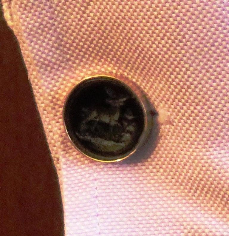 Men's Vintage Engraved 18 Karat Rose Gold Black Elk Cufflinks Hangcrafted in Italy For Sale