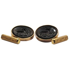 Cufflinks Mens Jewelry Black Elk 18 Karat Light Rose Gold 1960s Vintage