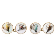 Cufflinks of Trout Flies on Crystal, Mother of Pearl and Gold, English, 1997