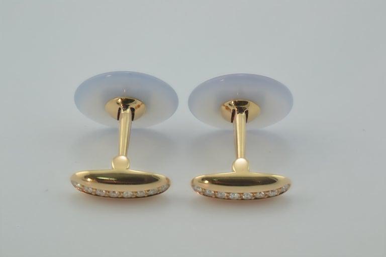 Round Cut Margherita Burgener Handcrafted Rose Gold Chalcedony Diamond Cufflinks  For Sale
