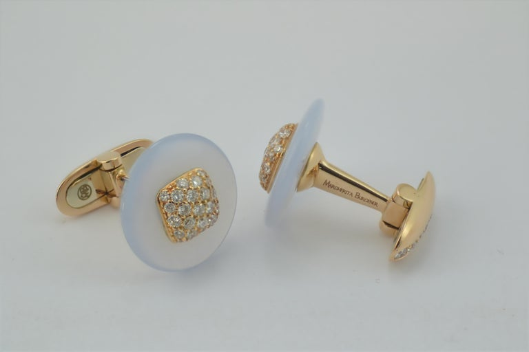 Margherita Burgener Handcrafted Rose Gold Chalcedony Diamond Cufflinks  In New Condition For Sale In Valenza , IT