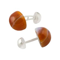 Agate Cufflinks, Agate and Hallmarked Sterling Silver