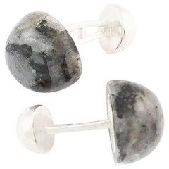 Cufflinks Round Cabochon Labradorite and Hallmarked Sterling Silver 2
