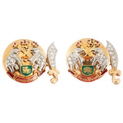 Indian Style Vintage Cufflinks 18 Carat Gold, Diamonds, Rubies & Enamel, 1950's